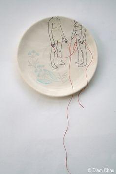 Diem Chau- Ceramic plate, silk, thread