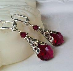 New w/Swarovski Ruby Red Crystal Baroque Pendant Earrings