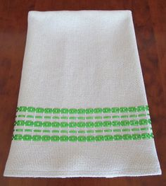 Green Swedish weave tea towel from etsy seller PoshAvenue