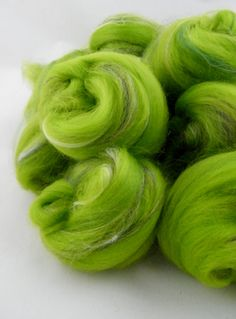Green Spinning Fiber Wool Roving  Merino Bamboo