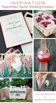 A Classic and traditional wedding invitation with a bit of a twist--what we do best!  Here our invite is framed up with cherry themed ideas for favors, pretty red print bridesmaid dresses, a grilled cherry cocktail, and a pie buffet(!)