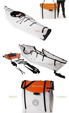 The Oru Kayak - Origami kayak that folds flat for your backpack... Amazing folding / fold up canoe! #product_design