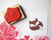 Sleeping Fox Rubber Stamp, Handmade Woodland Stamp, Wood Mounted