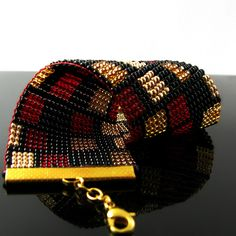 Bead loomed bracelet with rectangle pattern by CatsWire