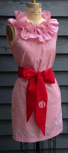 NC State  Lola, seersucker dress, with a flirty neckline ruffle on Etsy, $55.00