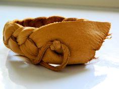 Handmade Soft Braided Leather Cuff. $10.00, via Etsy.