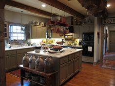 . prim kitchen, cabin kitchens, hill countri, antiqu, texas hill country, primcountri kitchen, primit kitchen, countri hous, primitive kitchen
