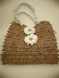 up-cycled crochet bag made from grocery sacks