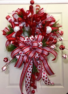 We love this huge bow on this Christmas Mesh Wreath by Williams Floral
