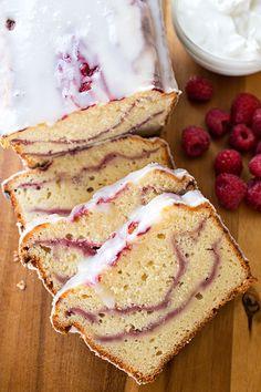 Raspberry Swirl & Greek Yogurt Cake with a Tangy Yogurt Drizzle.