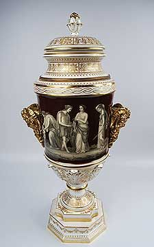 Exceptional Neoclassical Antique Royal Vienna Handpainted Porcelain Vase