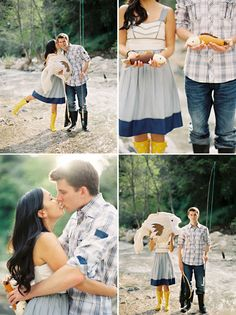 fishing engagement photos with stuffed fish