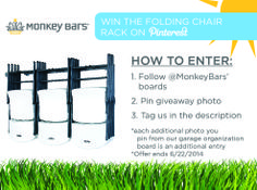Enter to win our folding chair rack from Monkey Bar Storage! Just follow the directions on the photo #giveaway #winbig