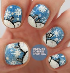 Snow scene nails! (from One Nail To Rule Them All)