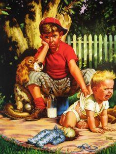 franc tipton, boy art, children, tender heart, brother, babi sitter, tipton hunter, illustr