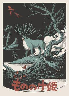 princess mononoke poster , studio ghibli fan-art