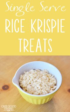 Single Serve Rice Krispie Treats!  {Gluten-Free} Use brown sugar Rice Krispies for gluten free...also a person commented that post cocoa pebbles and fruity pebbles are gluten free...