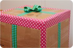 Use patterned duct tape for shipped packages. Love this!  (Not sure that the bow on top will last long but what a fun look!)  Lots of care package ideas at http://pinterest.com/militaryavenue/care-package-ideas/