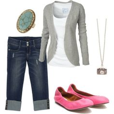 Casual and I love the pink flats.