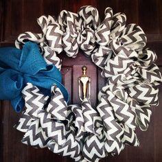 Burlap Chevron wreath with bow on Etsy, $60.00