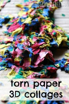 Torn Paper 3D Collages