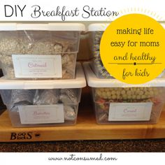 DIY Breakfast station...making life easy for mom and healthy for the kids. 60+ days of self-serve breakfasts.