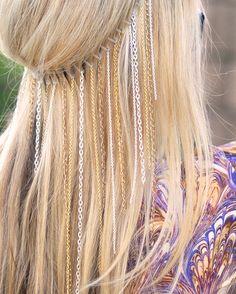 DIY chain headband- blonde hair | Flickr - Photo Sharing! diy headband, diy hair, blondes, ribbon, chain headband, chains, hairstyl, hair accessories, headbands