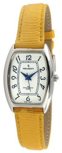 Peugeot Women's 3014YL Silver-Tone Yellow Canvas Strap Watch Peugeot. $49.50. Water-resistant to 99 feet (30 M). Accurate Japanese quartz movement. Canvas strap. Free lifetime battery replacement. Limited lifetime warranty. Save 31% Off!