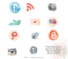 love the watercolour logo's, but probably not in these colours, thinking pale lilac, greys, mint etc. Twitter, Art Illustrations, Social Icons, Instagram, Hands, Clip Art, Watercolor Social, Social Media Icons, Hand Drawn