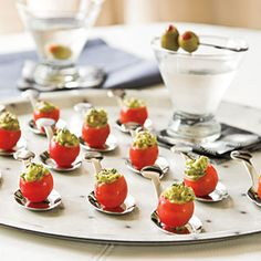 Stuffed Cherry Tomatoes - Appetizer Spoons: Try these for a fun look. They're the Appetizer Spoon Set (set of 12) from Crate & Barrel;
