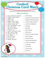 Cerebral Christmas Carol Match - Christmas party game