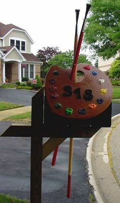 painted mailboxes, letterbox, number, the artist, paint pallets, artist mailbox, creativ mail, mailbox design, mail boxes