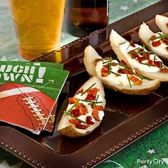 Kick off the party with a fan favorite – potato skins! We've got serving tips and tricks for you -- click the image! football party foods, sour cream, beach fun, party dips, theme parties, potato skins, newport beach, football parties, ideas party