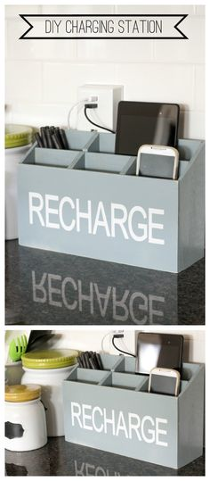 DIY Charging Station - the perfect spot to keep all your electronics charging! { lilluna.com }- NEED!