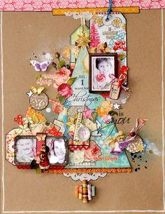 Christmas scrapbook layout: paper tree