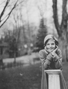 Nine-year-old Betty Perske photographed by her mother Natalie outside of the Highland Manor School for Girls, c. 1933. Unknown to young Betty, in ten years she would begin her career as one of the most iconic and beloved film stars of all time: Lauren Bacall.