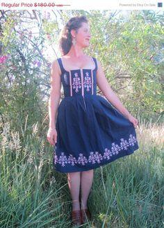 Gorgeous Vintage Floral Embroidered Dirndl