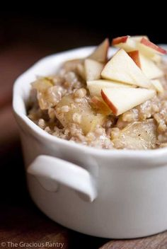 Clean Eating Apple Pie Oatmeal-     1/2 cup steel cut oats     2 cups water     1 cup chopped apples (approximately 1 small apple)     1/2 teaspoon ground cinnamon     1/4 teaspoon allspice     Honey to taste Bring to a boil, reduce heat and simmer until fully cooked.