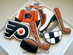 flyer cookiedecor, hockey, art flyer, food, cooki decor, cookie decorating, philadelphia flyers, cookies, art philadelphia