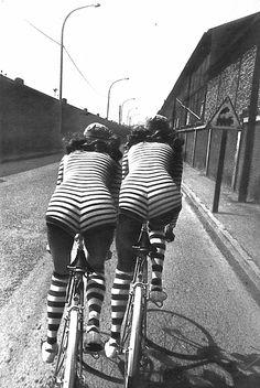 stripes | by Helmut Newton, Vogue Paris, 1971 #vintage #1970s #bike