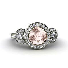 Morganite Engagement Ring 3 Stone Round Diamond Halo Morganite Ring 14K Gold Custom Engagement Ring on Etsy, $1,155.00