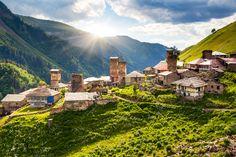 View of the village Adishi. Upper Svaneti, Georgia, #Europe