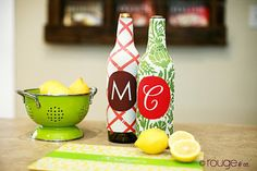 wine sleeve, reverse clover pattern, custom monogram and colors
