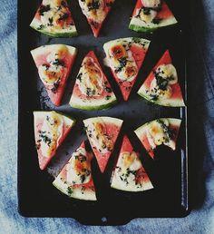 Watermelon-Fontina Melts with Dill | palate/palette/plate.blogspot.com