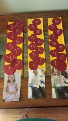 10 apples up on top craft. Boys put numbers in order, chloe traced then put in order 10 appl