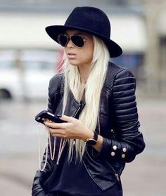 hats, hair colors, stylefashion, biker jackets, fedoras, hat hair, leather jackets, black, style fashion