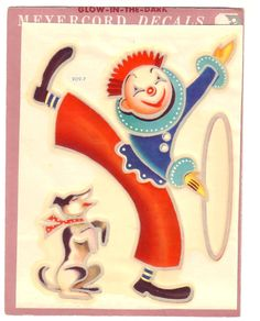 Vintage Meyercord Decal Circus Clown with Dog and Hoop