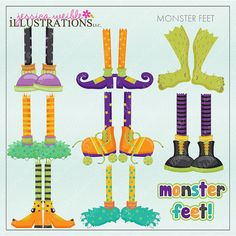 Monster Feet Cute Digital Clipart for Card by JWIllustrations, $5.00 monster feet, clipart halloween