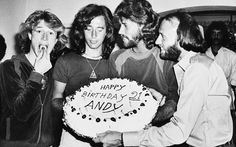 March 6, 1979,  Andy Gibb, Robin, Barry & Maurice celebrating Andy's birthday at a party given by his family in his home in Miami Beach, Fla.