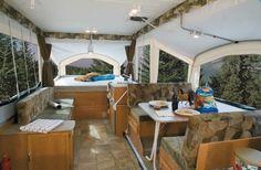 Pop Up Camping Trailer - Inside Look; pop-up camper with dinette slide-out